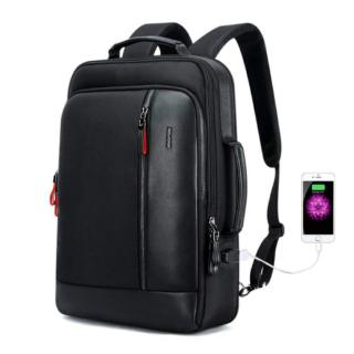 Mens Leather Laptop Backpack with USB Charging