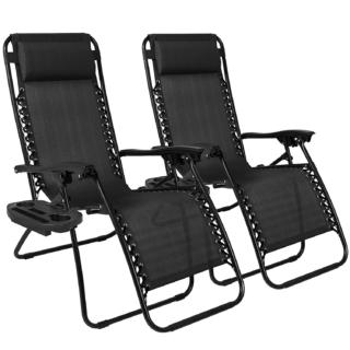 Set of 2 Adjustable Zero Gravity Lounge Chair Recliners