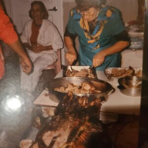 Mom Slicing up the Goods-Noche Buena-1973
