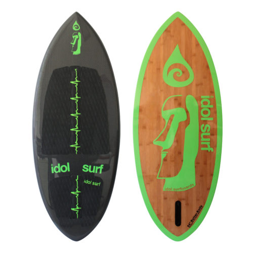 image of carbonfiber and bamboo skim style wake surfboard