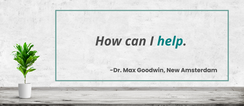 How can I help. - Dr. Max Goodwin, New Amsterdam