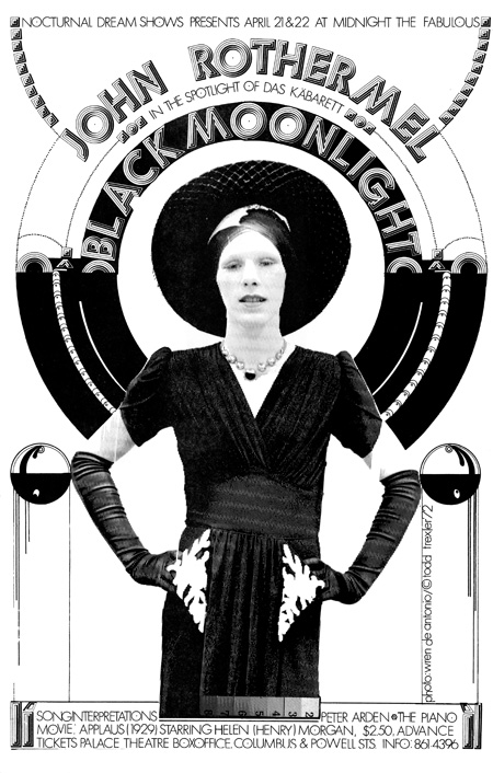 "#33 – Nocturnal Dream Shows John Rothermel in Das Kabarett Black Moonlight Peter Arden, piano April, 1972   11"" x 17""- Black & White"