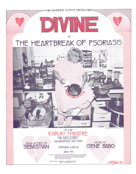 #36 – Champagne Flights – on stage Divine in The Heartbreak of Psoriasis Book & Lyrics by Sebastian – Music by Gene Babo – Kabuki Theater June, 1975