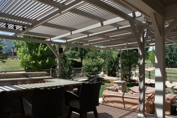 Inner view of a patio with a shade