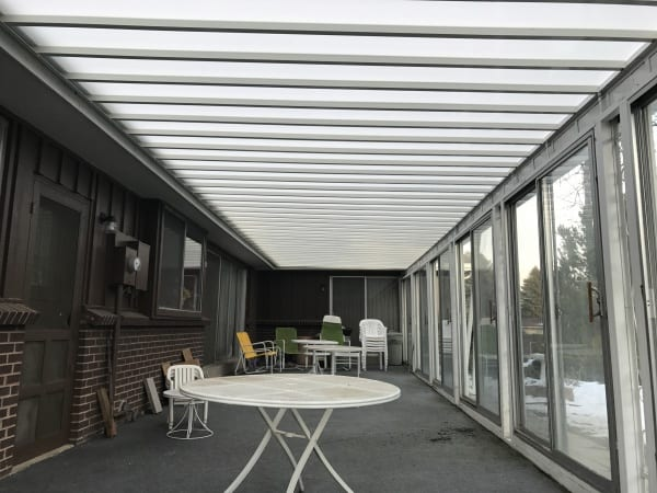 Inner view of a covered sunroom