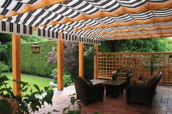 A black and white-striped patio cover