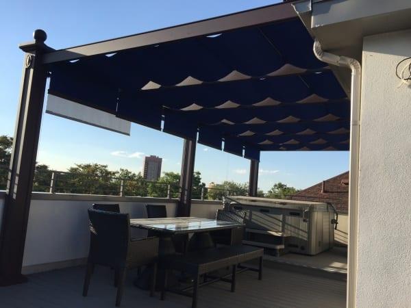 A dark blue patio cover