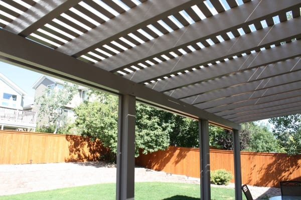 View under a patio cover with spacing
