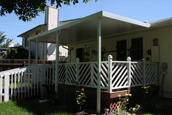 A one-story house with a covered font porch