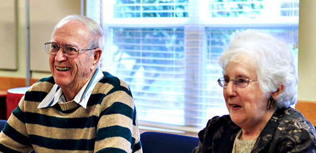 Seniors enjoying coffee hour at Homewoods