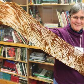 Florence modeling Ann's mushroom-dyed silk scarf