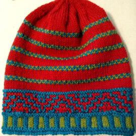 Phina Borgeson's Red Color Challenge knit hat