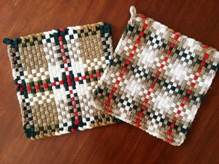 Terri Nevins' Dark Green color challenge potholders