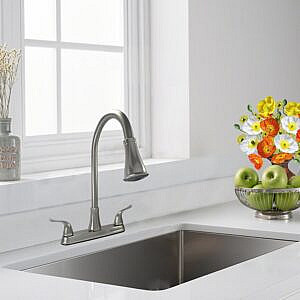 Two Handle High Arc Pulldown Kitchen Faucet