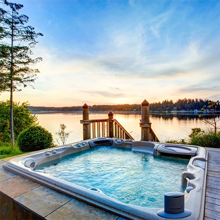 sit back and relax in hot tub