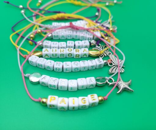 colorful corded name bracelet