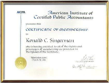Ronald C. Singerman, American Institute of Certified Public Accountants
