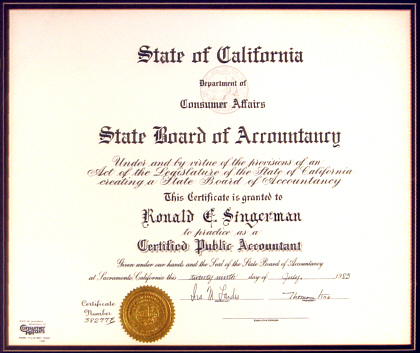 Ronald C. Singerman, State of California Certified Public Accountant
