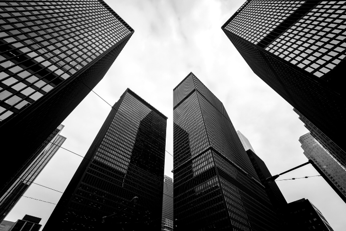 Black and white high-rise buildings