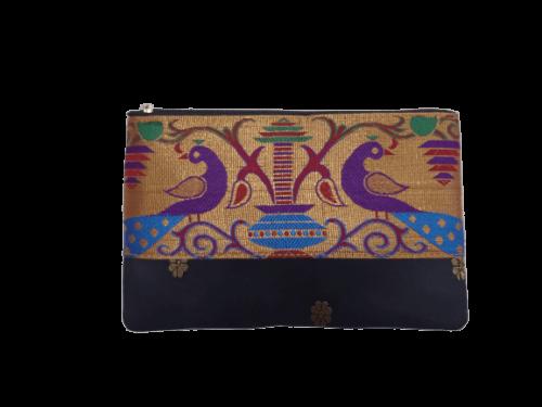 paithani flat purse