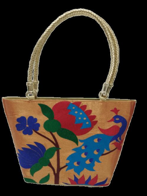 paithani big bag golden