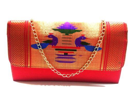 paithani box clutch