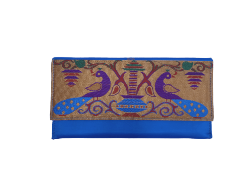 Paithani medium flat purse
