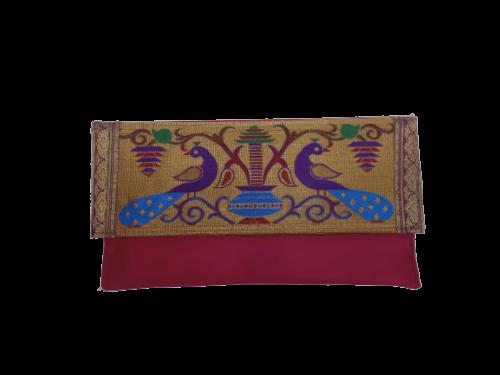 Semi paithani flat purse pink