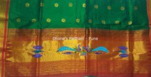 Paithani Kurti Material Green