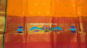 Paithani Kurti Material orange