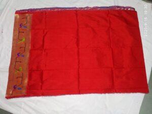 Red paithani blouse piece