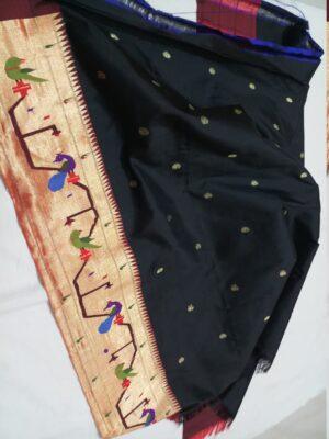 Black paithani blouse piece