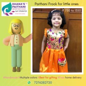 Paithani frock orange