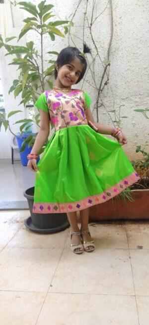 Paithani frock green