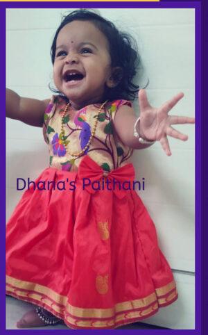 Paithani frock Saffron