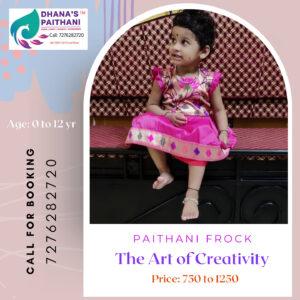 Paithani frock rose pink