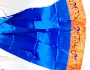 sky blue paithani blouse piece