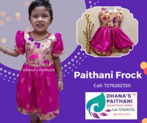 Paithani frock pink