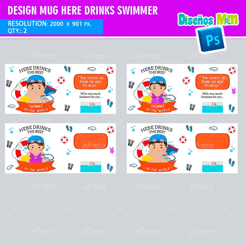 DESIGN SUBLIMATION HERE DRINKS THE BEST SWIMMER