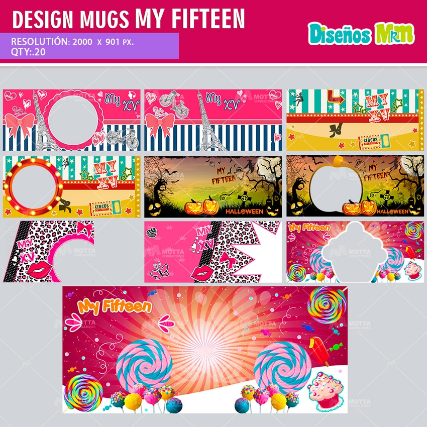 DESIGN FOR SUBLIMATION THE MUGS MY FIFTEEN