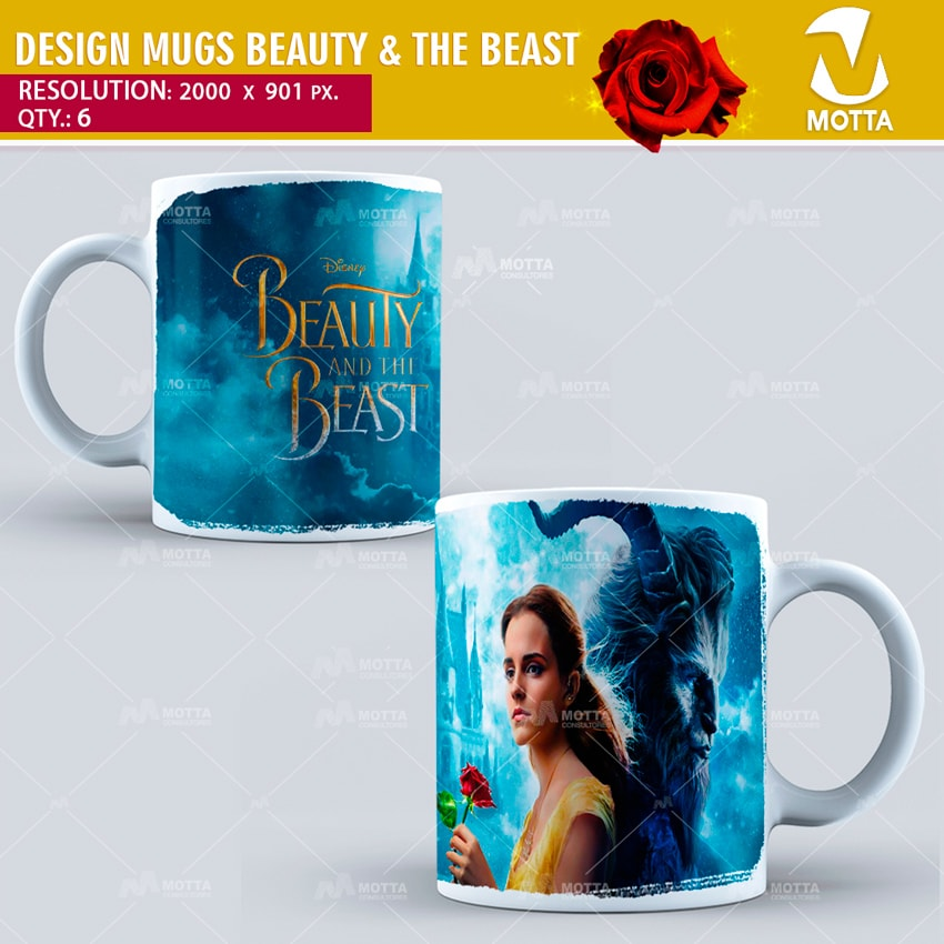 BEAUTY AND THE BEAST   DESIGN FOR SUBLIMATION THE MUGS