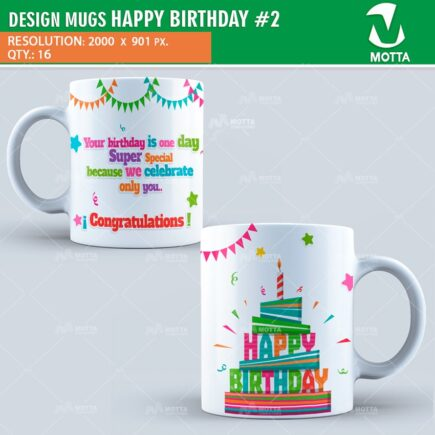 DESIGN FOR SUBLIMATION OF MUGS HAPPY BIRTHDAY # 2