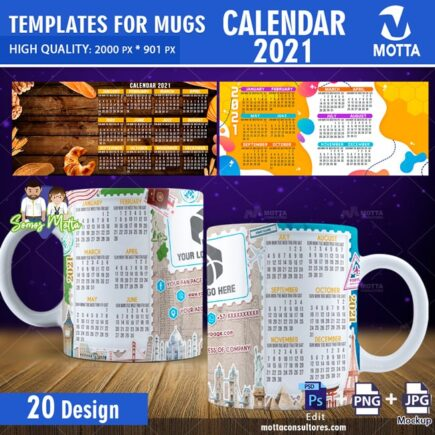 SUBLIMATION TEMPLATES MUG CALENDAR CORPORATE 2021
