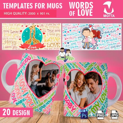 TEMPLATES MUGS SUBLIMATION VALENTINE'S DAY