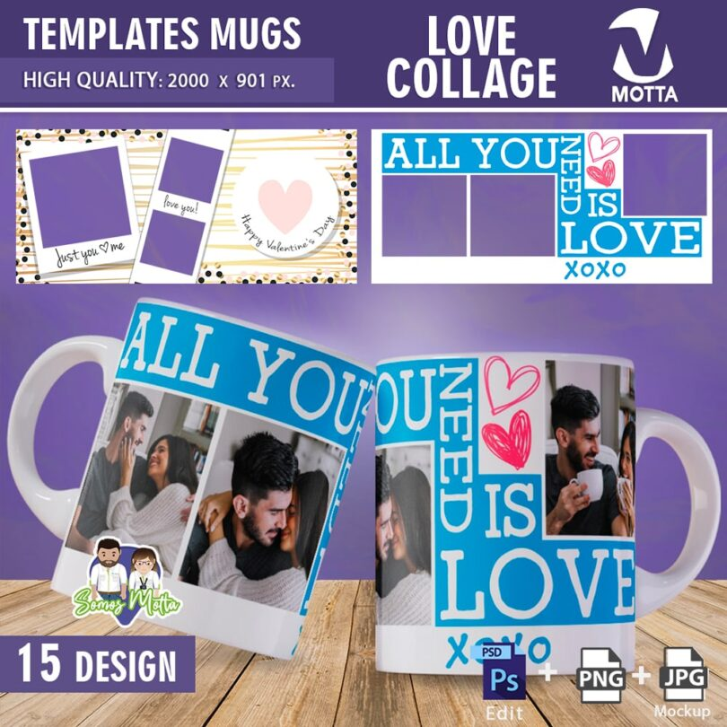 TEMPLATES MUGS SUBLIMATION LOVE PHOTO COLLAGE