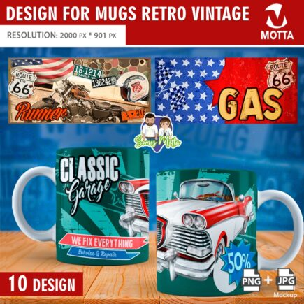 DESIGN SUBLIMATION RETRO VINTAGE MUGS
