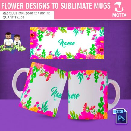FLOWER DESIGNS TO SUBLIMATE MUGS