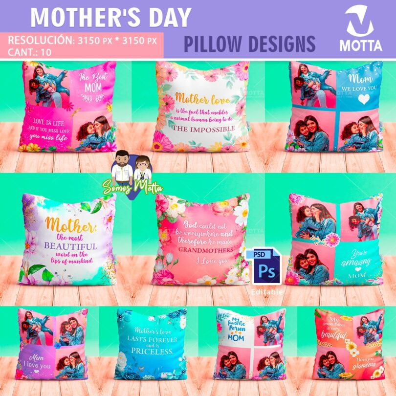 10 PILLOWS DESIGN MOTHER'S DAY