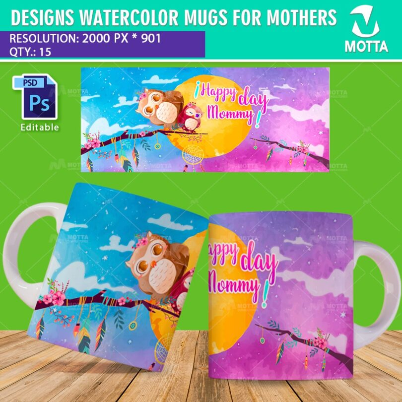 DESIGNS MOTHERS DAY MUGS STILE WATERCOLOUR