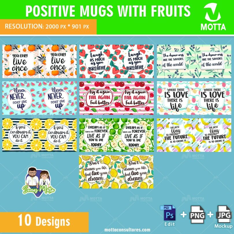 DESIGNS SUBLIMATION POSITIVE MUGS WITH FRUITS